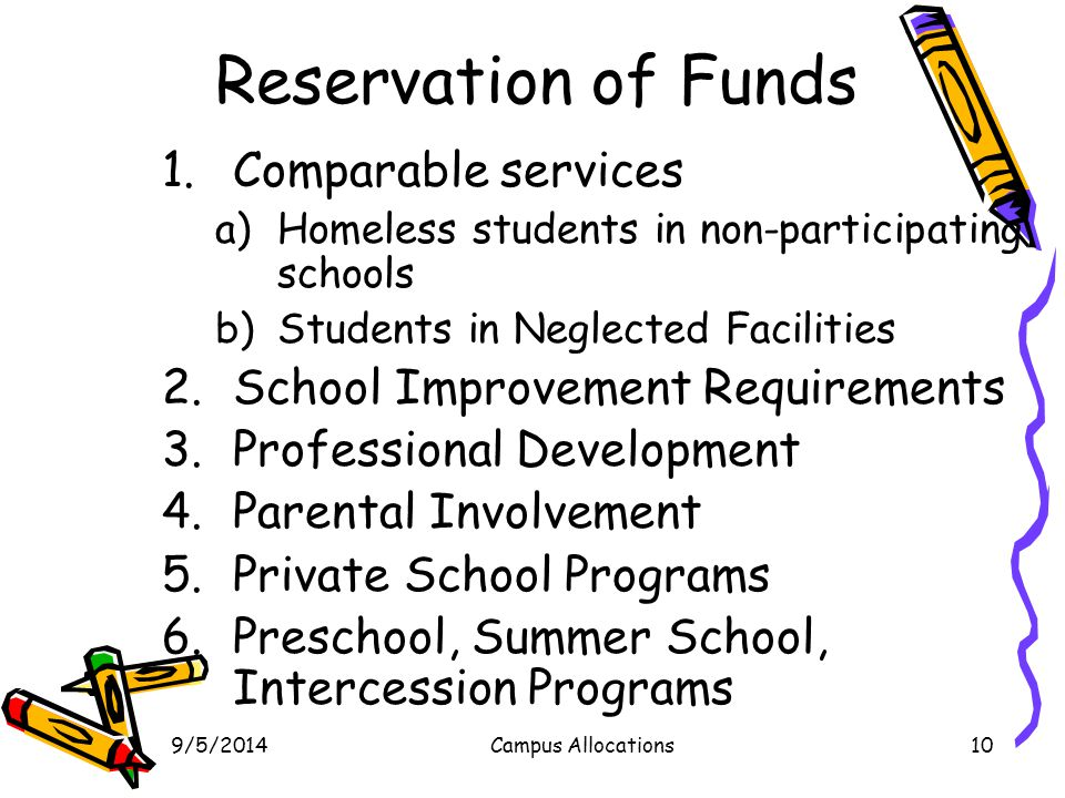 Reservation of Funds Comparable services
