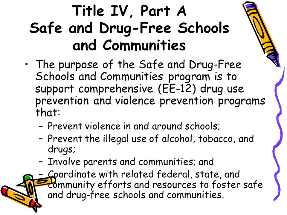 Title IV, Part A Safe and Drug-Free Schools and Communities