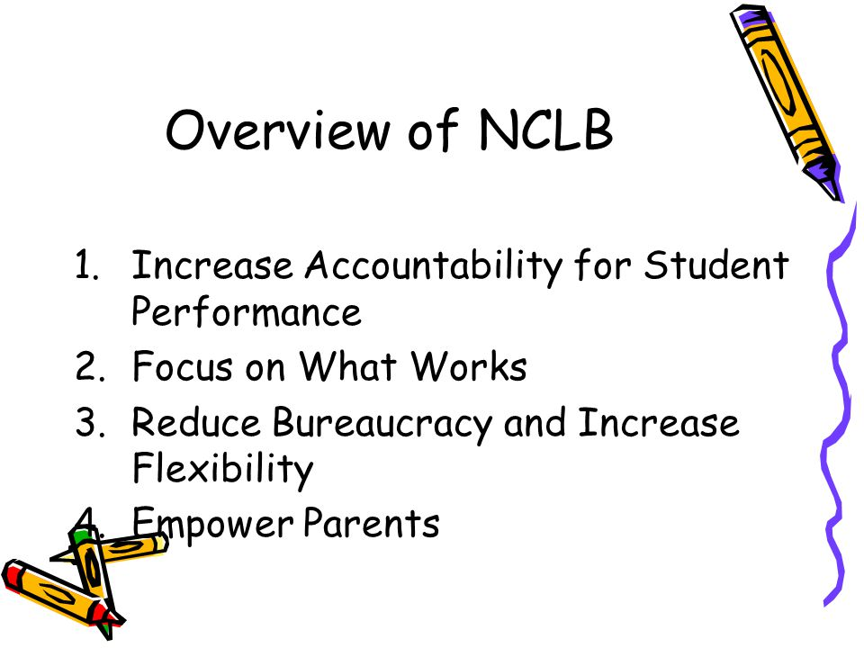 Overview of NCLB Increase Accountability for Student Performance