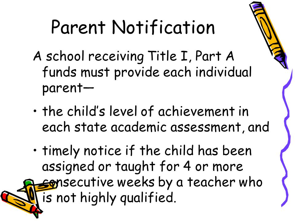 Parent Notification A school receiving Title I, Part A funds must provide each individual parent—