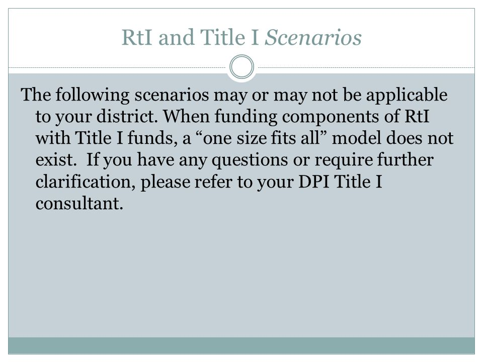RtI and Title I Scenarios