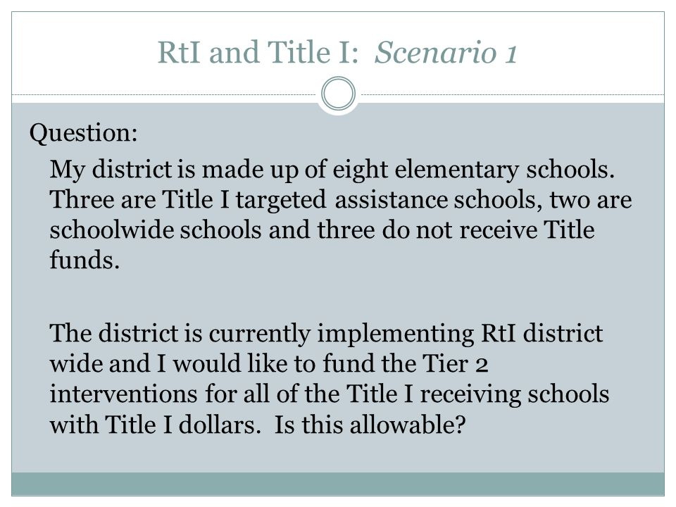 RtI and Title I: Scenario 1