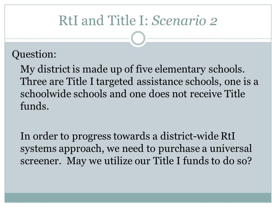 RtI and Title I: Scenario 2