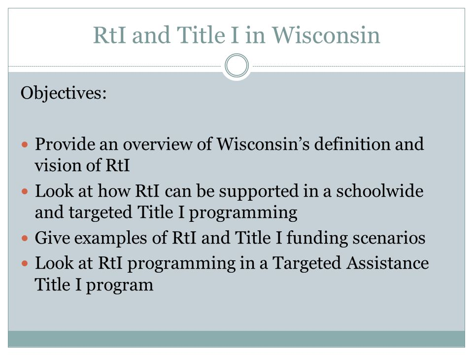 RtI and Title I in Wisconsin