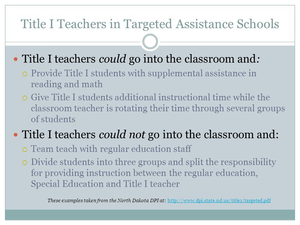 Title I Teachers in Targeted Assistance Schools