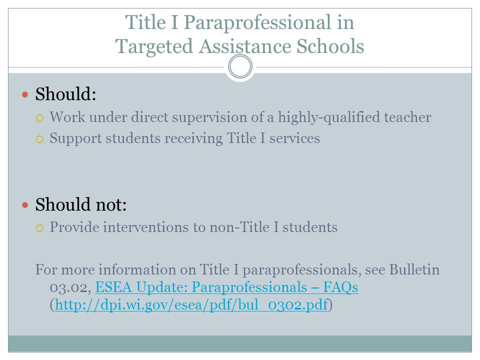 Title I Paraprofessional in Targeted Assistance Schools