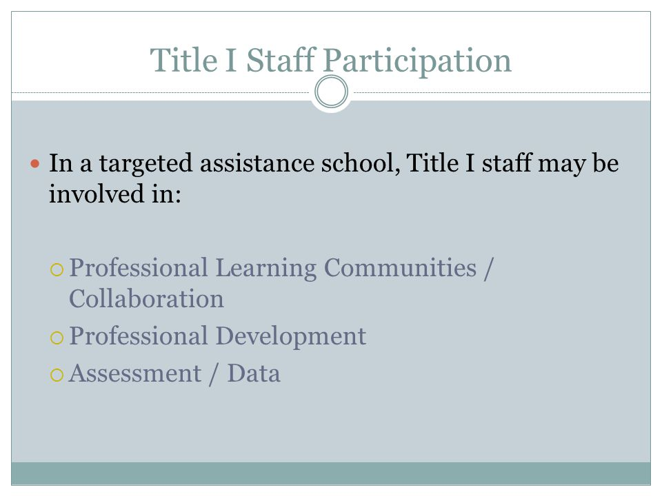 Title I Staff Participation