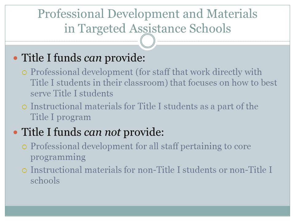 Professional Development and Materials in Targeted Assistance Schools