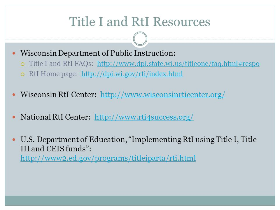 Title I and RtI Resources