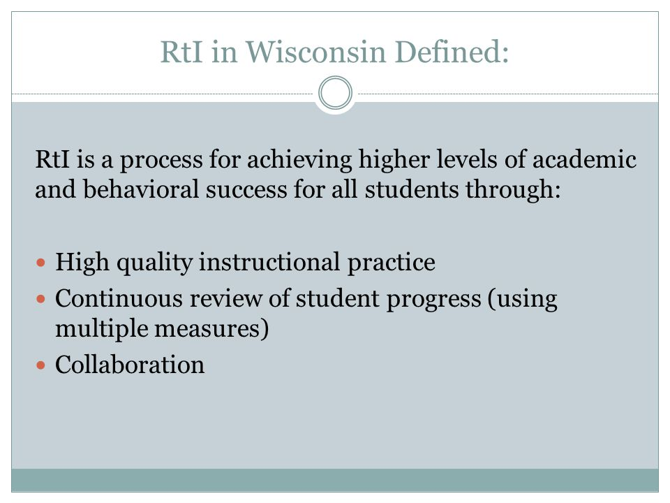 RtI in Wisconsin Defined:
