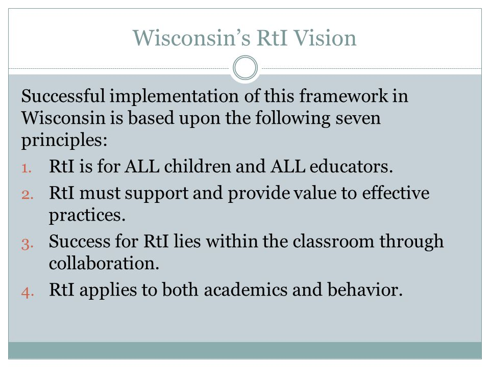Wisconsin's RtI Vision