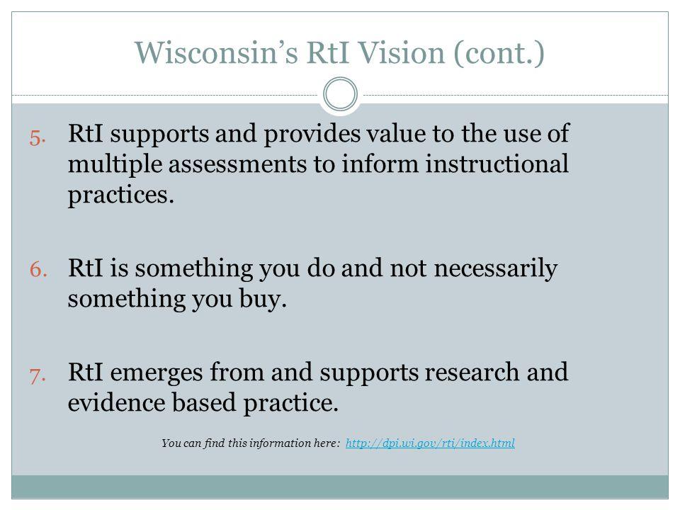 Wisconsin's RtI Vision (cont.)