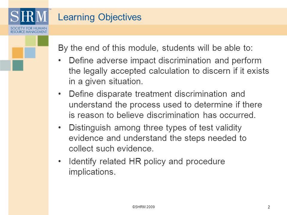 Learning Objectives By the end of this module, students will be able to: