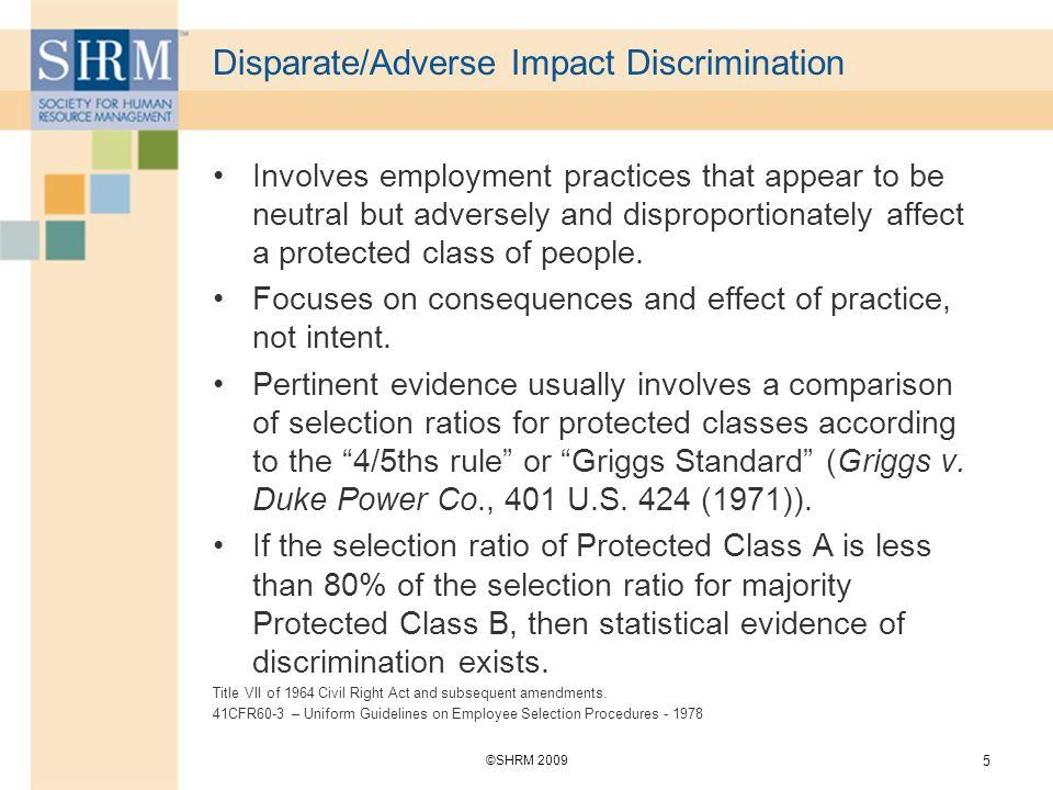 Disparate/Adverse Impact Discrimination