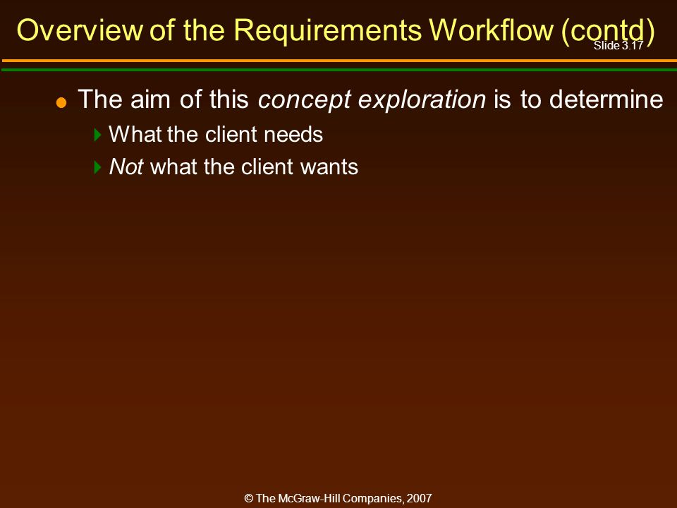 Overview of the Requirements Workflow (contd)