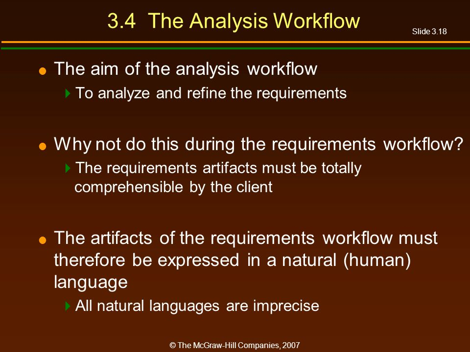3.4 The Analysis Workflow The aim of the analysis workflow