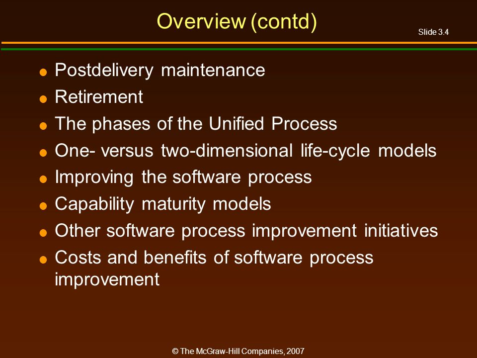 Overview (contd) Postdelivery maintenance Retirement