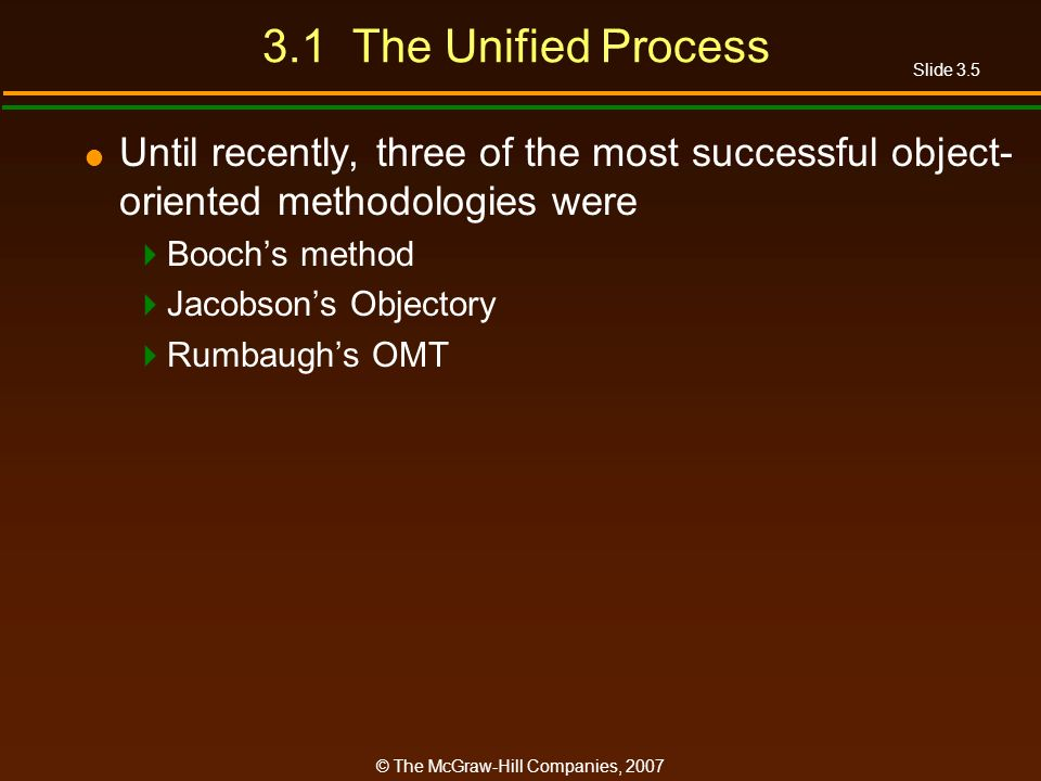 3.1 The Unified Process Until recently, three of the most successful object-oriented methodologies were.