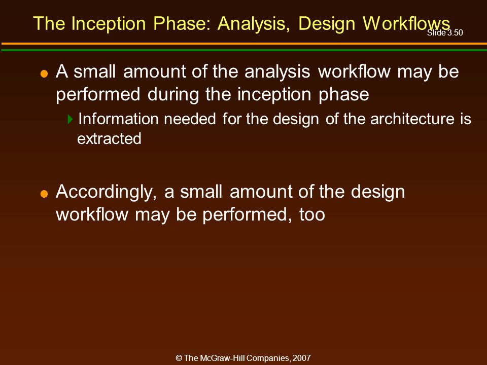 The Inception Phase: Analysis, Design Workflows