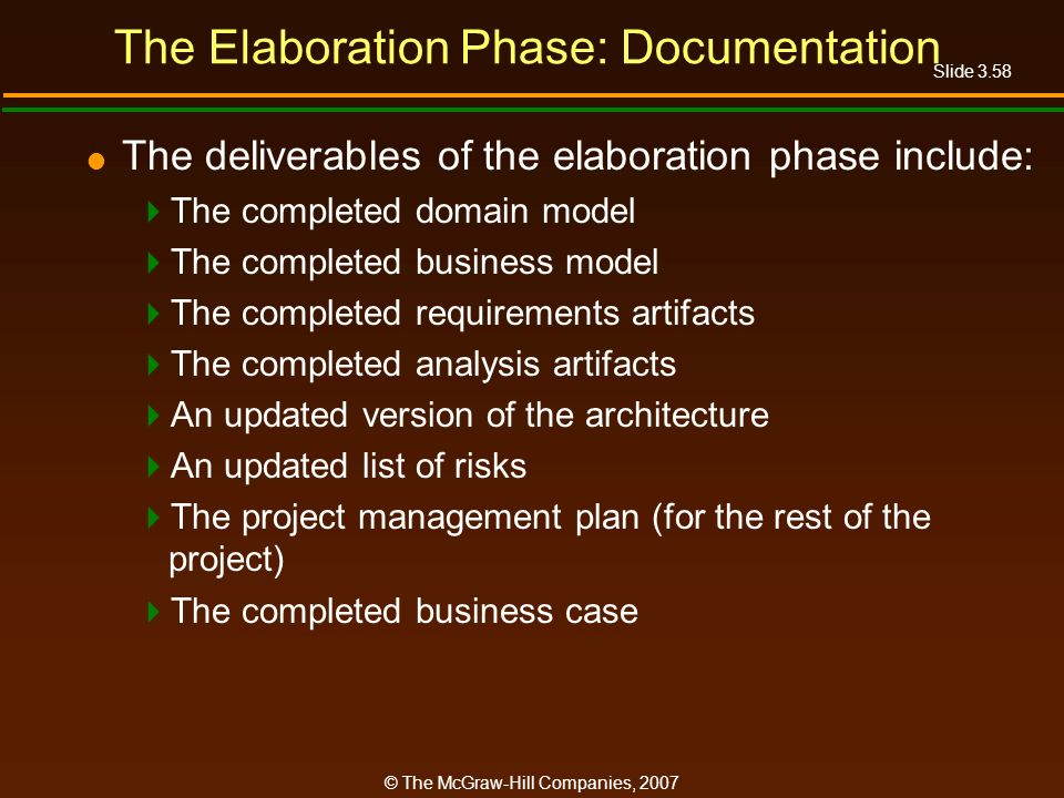 The Elaboration Phase: Documentation