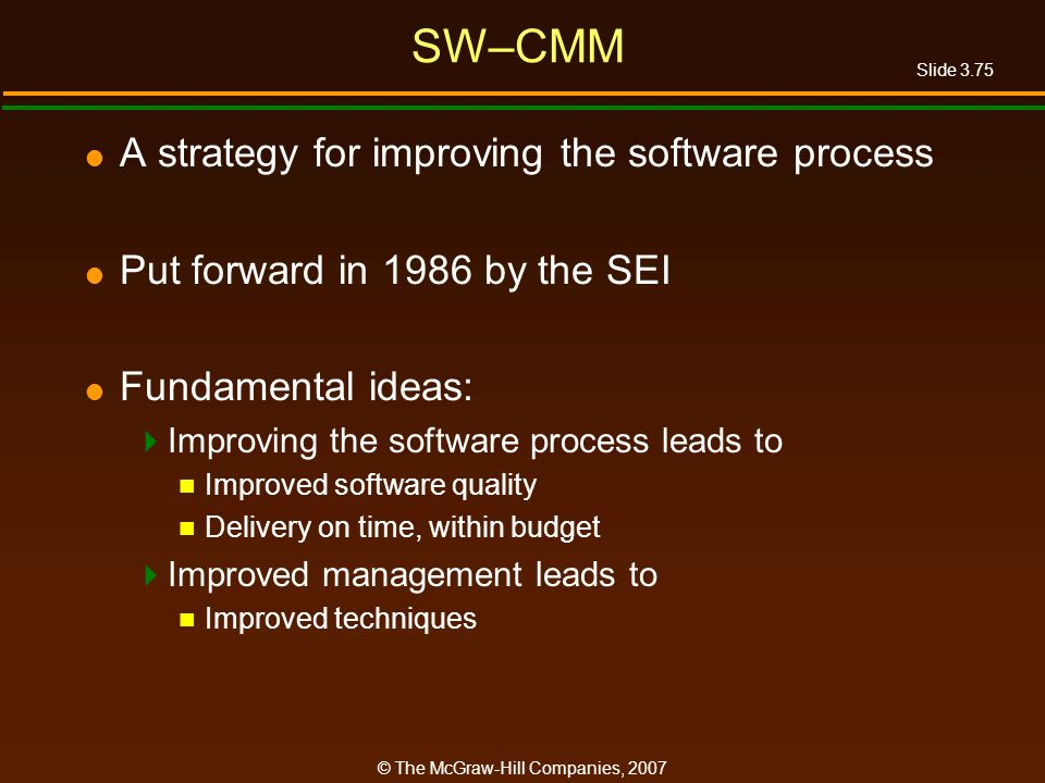 SW–CMM A strategy for improving the software process