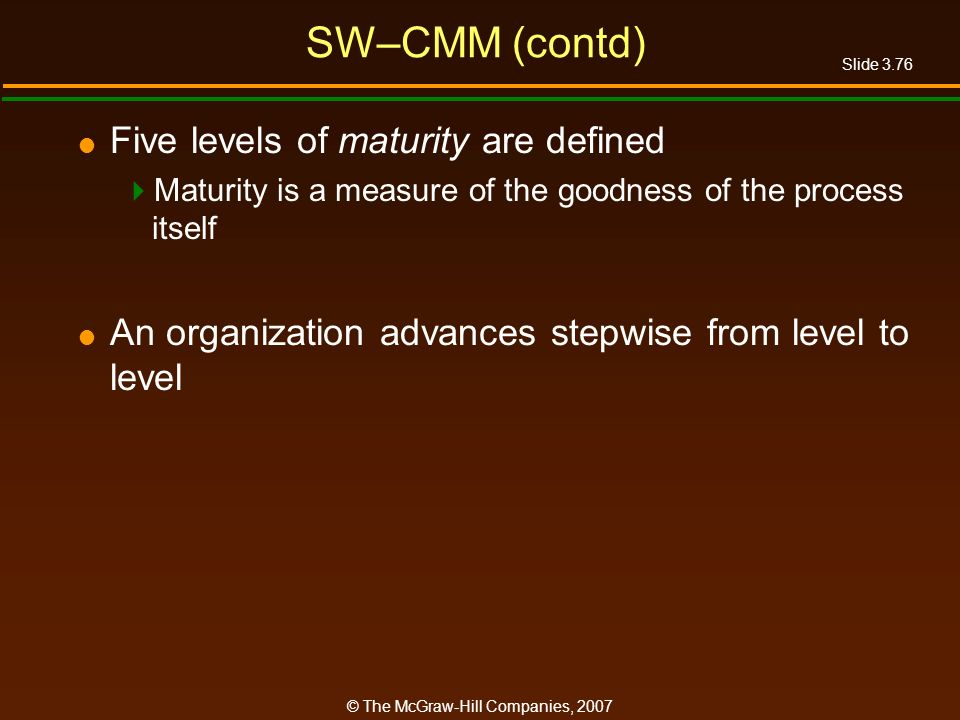 SW–CMM (contd) Five levels of maturity are defined