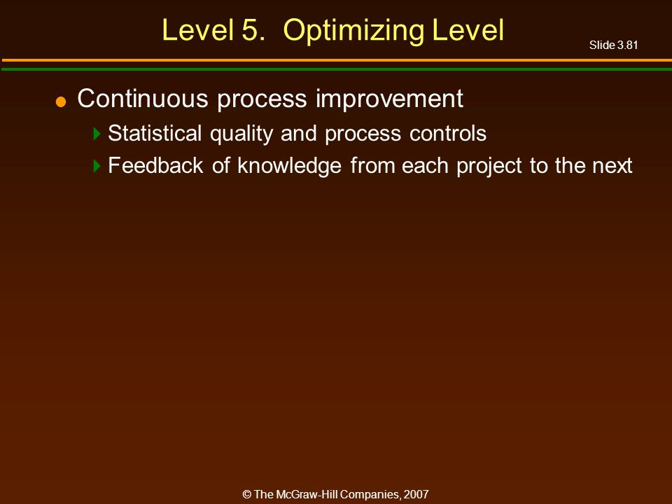 Level 5. Optimizing Level