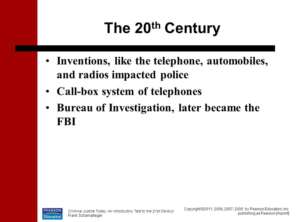The 20th Century Inventions, like the telephone, automobiles, and radios impacted police. Call-box system of telephones.