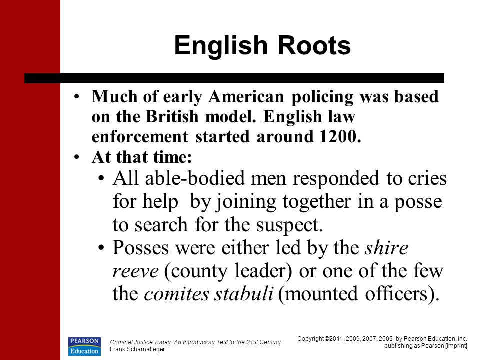 English Roots Much of early American policing was based on the British model. English law enforcement started around 1200.
