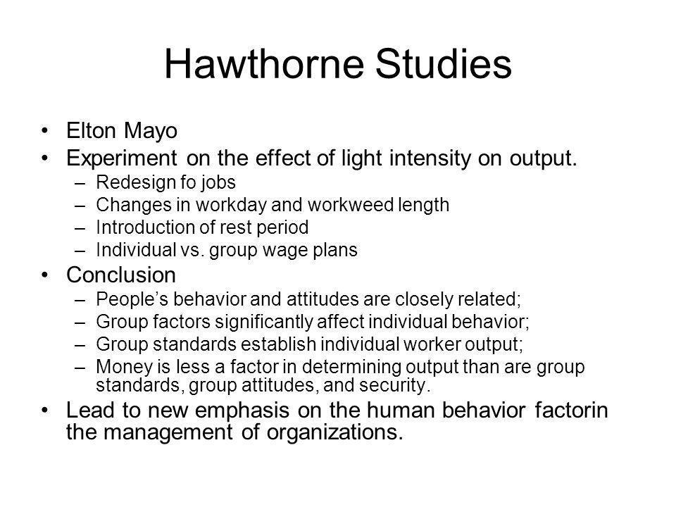 Hawthorne Studies Elton Mayo