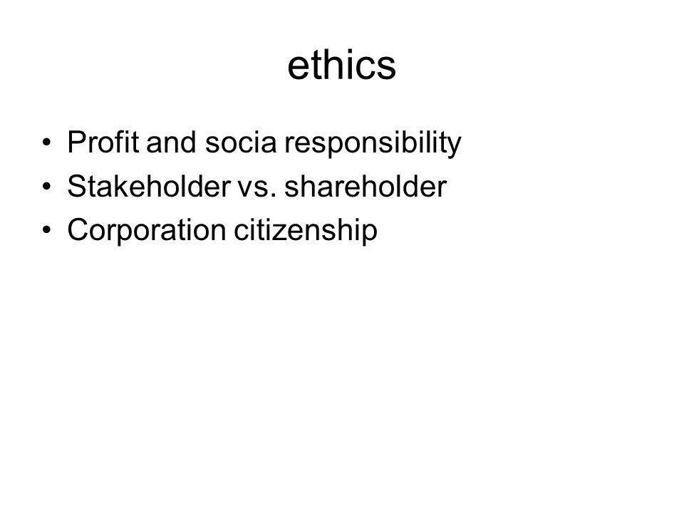 ethics Profit and socia responsibility Stakeholder vs. shareholder
