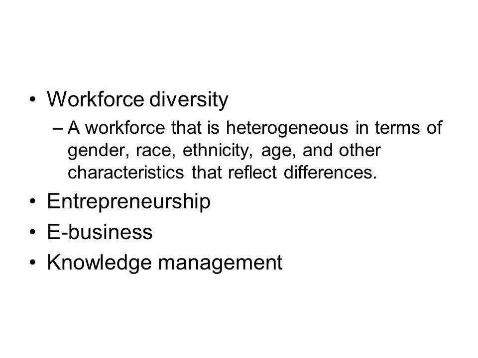 Workforce diversity Entrepreneurship E-business Knowledge management