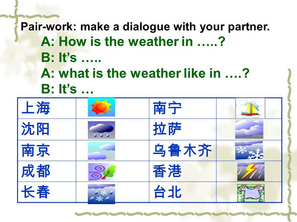 上海 南宁 沈阳 拉萨 南京 乌鲁木齐 成都 香港 长春 台北 A: How is the weather in …..