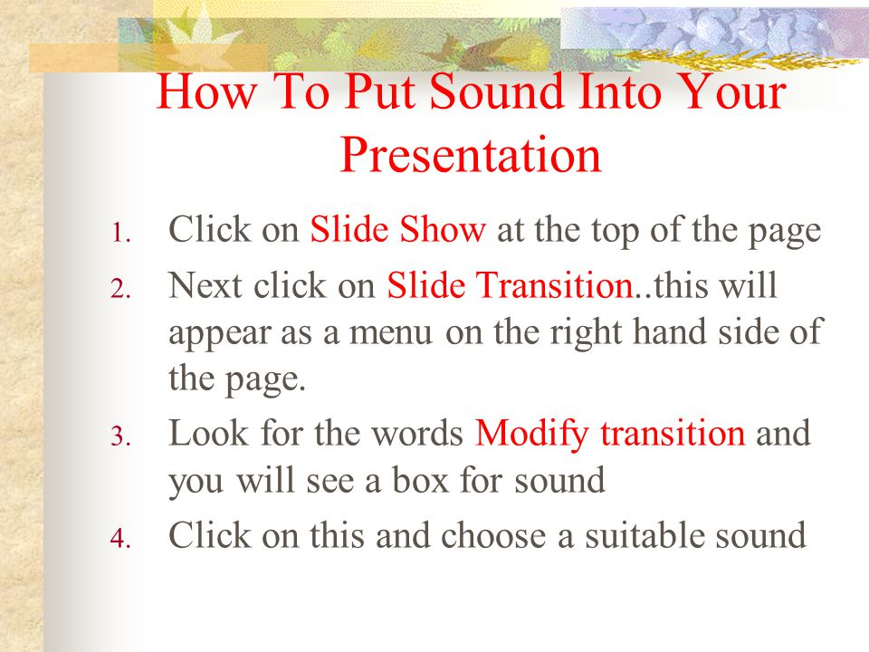 How To Put Sound Into Your Presentation