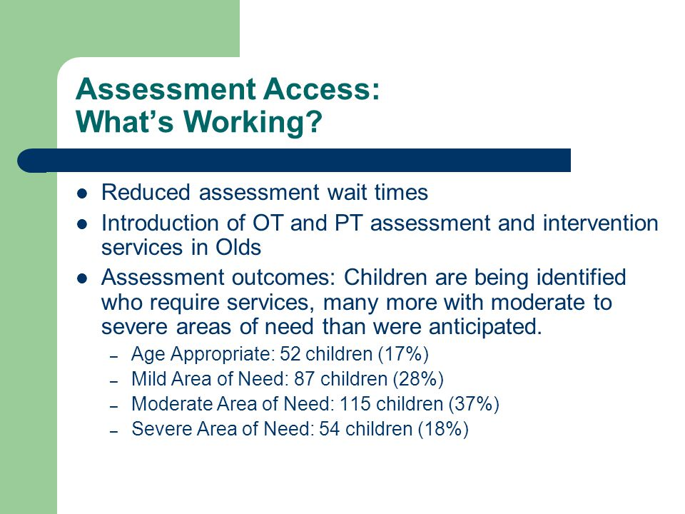 Assessment Access: What's Working