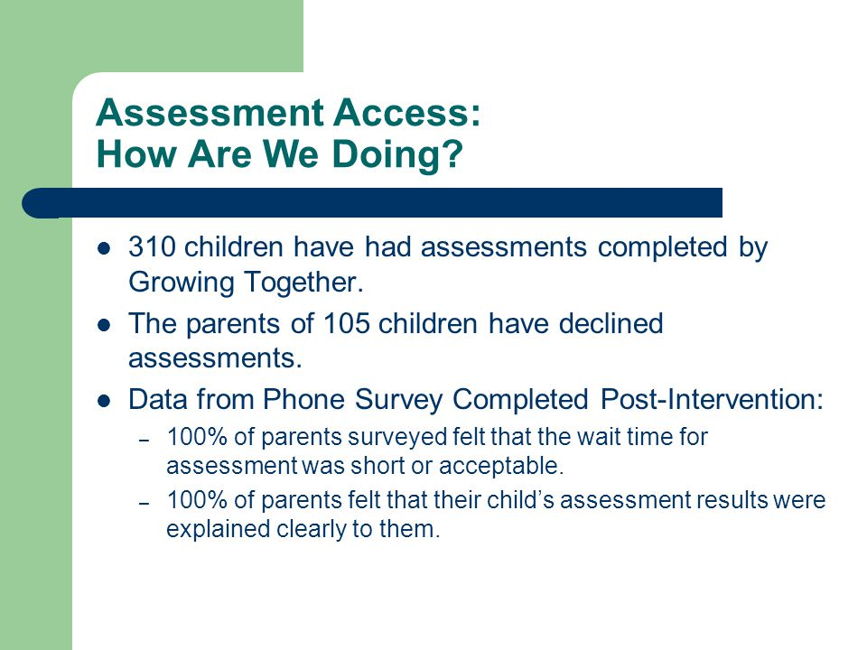 Assessment Access: How Are We Doing