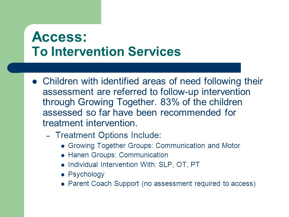 Access: To Intervention Services