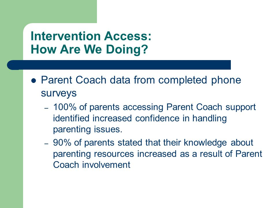 Intervention Access: How Are We Doing