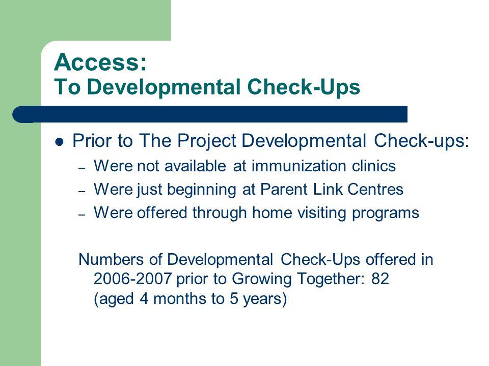 Access: To Developmental Check-Ups