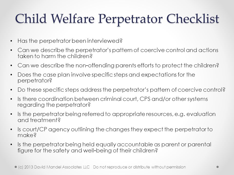 Child Welfare Perpetrator Checklist