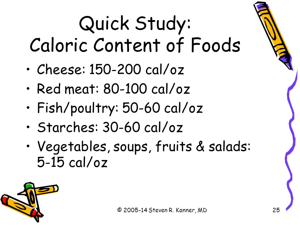 Quick Study: Caloric Content of Foods
