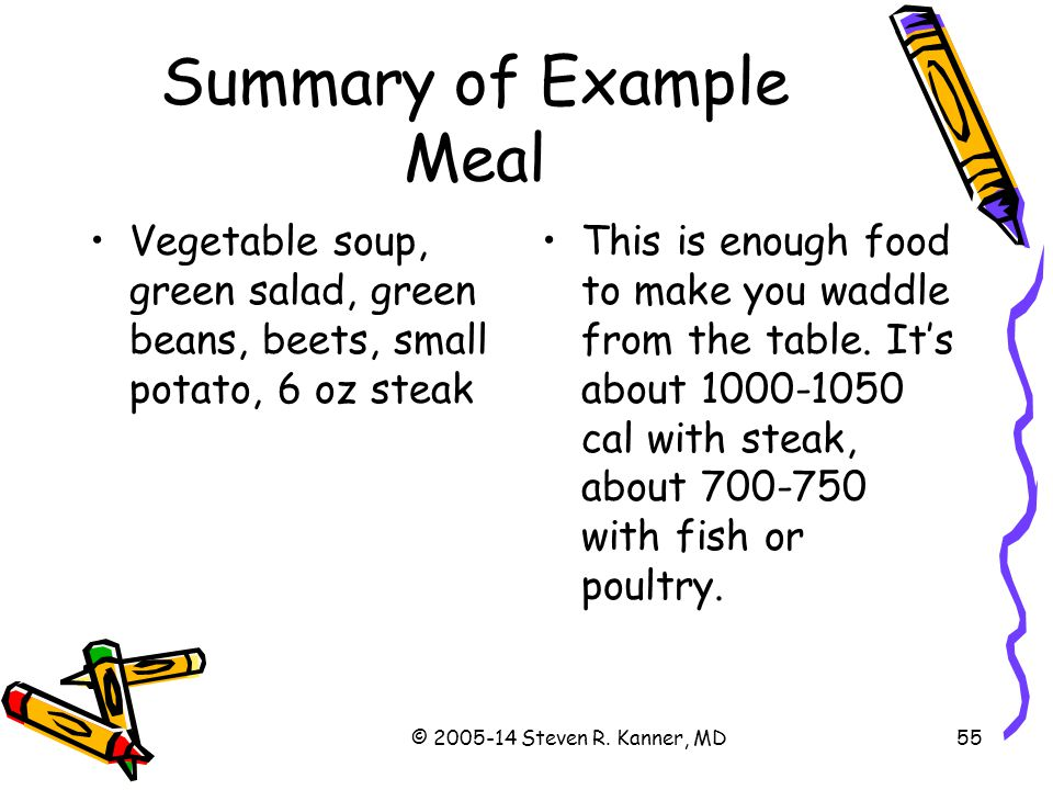Summary of Example Meal
