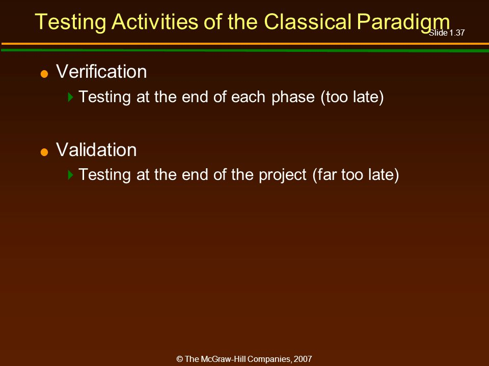Testing Activities of the Classical Paradigm