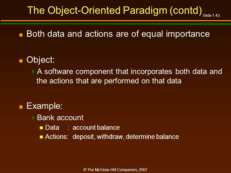 The Object-Oriented Paradigm (contd)