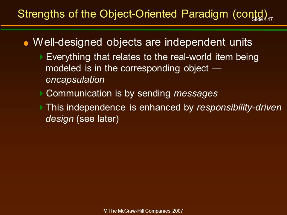 Strengths of the Object-Oriented Paradigm (contd)