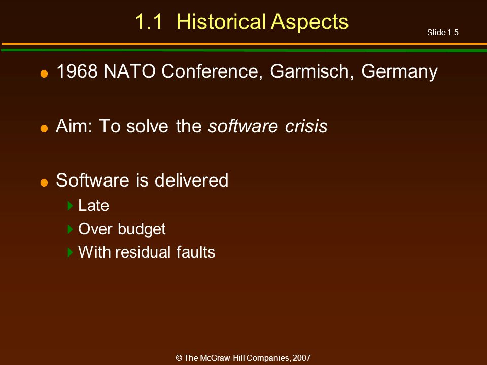 1.1 Historical Aspects 1968 NATO Conference, Garmisch, Germany