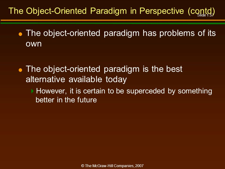 The Object-Oriented Paradigm in Perspective (contd)