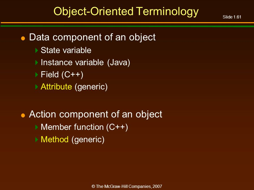 Object-Oriented Terminology