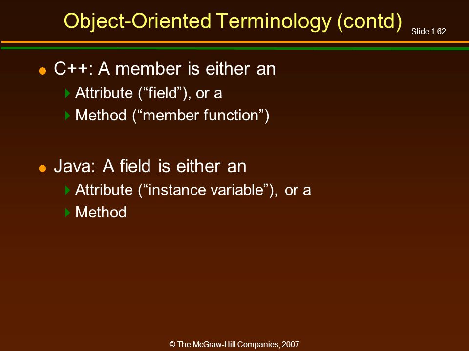Object-Oriented Terminology (contd)