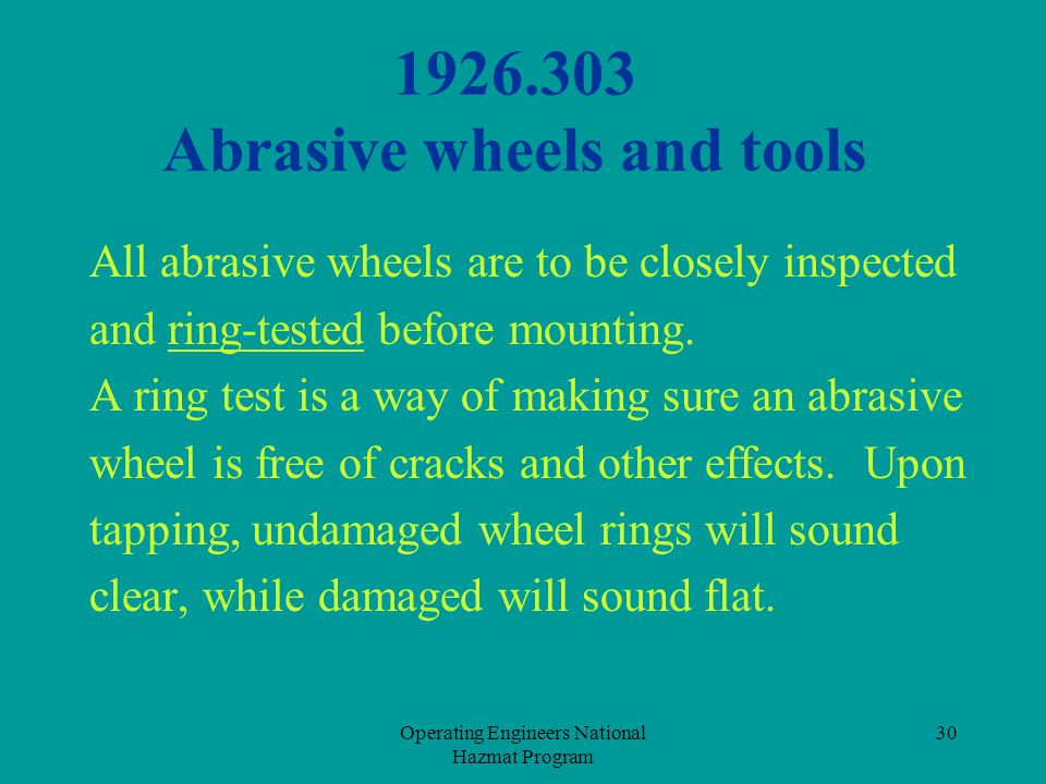 1926.303 Abrasive wheels and tools